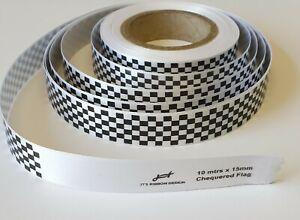 Racing ribbon chequered flag 15mm check formula 1 police ribbon x 10 metre roll