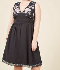 Geode Plus Size 4X Black Beaded Embroidered Sequin Vintage Style Dress