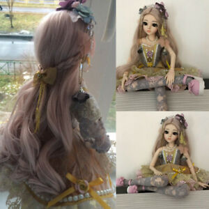 Full Set BJD Doll 1/3 Ball Jointed Girl Dolls with Face Eyes Dress Makeup Gifts