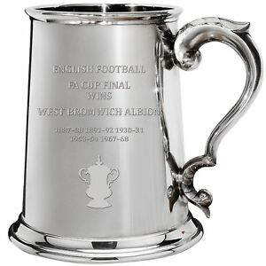 West Bromwich Albion English FA Cup Winner 1pt Pewter Tankard Gift
