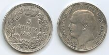 GS770 - Serbien 5 Dinara 1879 RAR KM#12 XF- Silber Milan Obrenovich IV.1868-1889