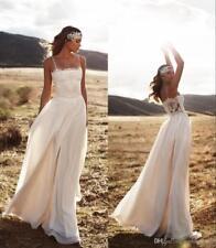 Cheap White Ivory Wedding Dresses  Spaghetti Straps Strapless A Line Chiffon New