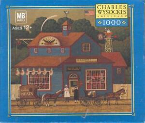 Charles Wysocki Hasbro Jigsaw Puzzle The Butcher Shop missing 3 pieces