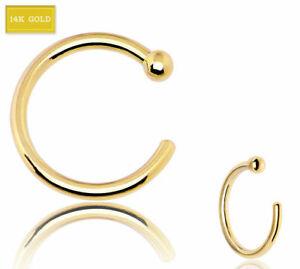 "14K Solid Real Yellow Gold 14 Karat 20G 5/16"" Nose Open Hoop Ear Ring Daith Lip"