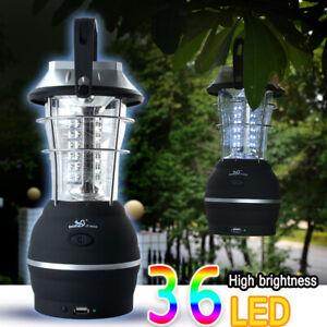 36LED Solar Lantern Camping Tent Light Outdoor Hand Crank Dynamo Lamp Rechargeab