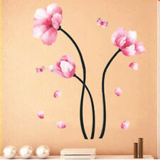Pretty Frosted Pink Lily Flower Removable Wall Sticker Bedroom Living Room DIY