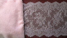 "9"" Wide Pink Floral Chantilly Tulle Lace Trim Fabric Eyelash Lace"