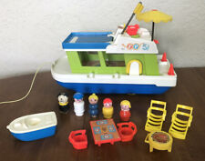 1972 Vintage Fisher Price Little People Play Family HAPPY HOUSEBOAT Boat #985