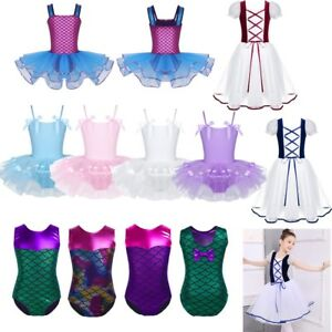 Child Girls Ballet Dance Dress Kids Gymanstics Leotards Mermaid Princess Costume
