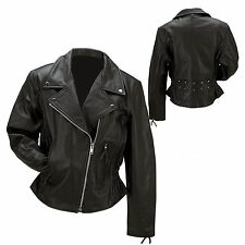 NEW Lined Black Leather Womens Ladies Motorcycle Riding Jacket Coat