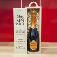 Personalised Wooden Wine Box for Wedding & Anniversary. 'Mr & Mrs'
