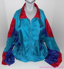 Nike Vtg 80s 90s Shiny Nylon Colorblock Gray Tag Full Zip Windbreaker Jacket -L-