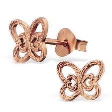 rose gold butterfly ear studs 925 sterling silver earrings