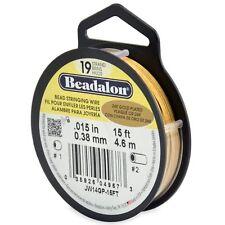 "Beadalon 24K Gold Plated .015"" Bead Stringing Wire 19 Strand Flex Wire -15ft"