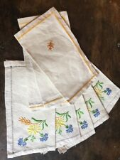 """French vintage Napkins Natural Organic Linen Hand Stitched 8 Floral 9.5"""" Mint"""