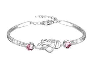 White gold finish Pink Tourmaline And created diamond infinity Heart bangle