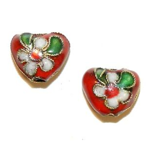 CL171 Red 12mm Flat Puffed Heart w Gold Metal Handmade Cloisonné Beads 10pc