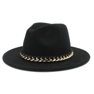Unisex Wool Fashion Wide Brim Fedora Panama Hat Church Sombrero Felt Jazz Cap