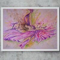 Original Gemälde Aquarellbild tanzen Liebe Kalligraphie Frauen Akt Malerei 30x40