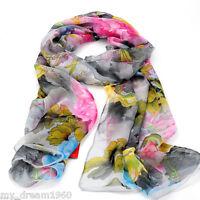 Fashion Print Flower Soft Chiffon Neck Scarf Wrap Women Shawl Stole Scarves New