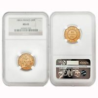 France 1887A Angel Writing 20 Francs Gold NGC MS65