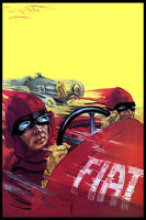 ITALY FIAT RACE CAR SPEED RACING ITALIAN AUTOMOBILE FINE VINTAGE POSTER REPRO
