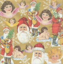 2 Serviettes papier Père Noël & Anges Decoupage Paper Napkins Santa & Angels