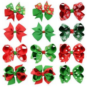 Christmas Hair Clips Girls Hairpins Red Green Xmas Bow Cute Barrette Accessories