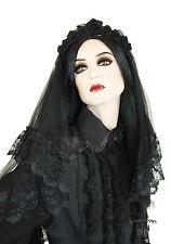 Gothic black wedding schwarze Hochzeit Tüll Schleier Veil mit Rosen zum WGT