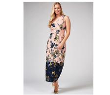 Nina Leonard Printed Sleeveless Wrap Front Maxi Dress Petite Blush Medium BNWT
