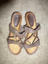 "Patrizia by Spring Step  Slip on Sandals Brown 2"" heel  Dressy"