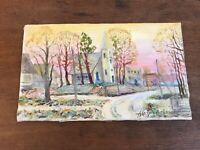 Vintage Original Plein Air Painting on Linen by Ukrainian Artist Signed 8 X 13