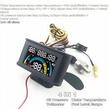 4 In1 Car Oil Pressure+Voltmeter Volt Gauge+Water Temperature +Oil Fuel Gauge UK