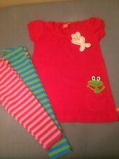 Lipfish Red Jersey Dress With Frog & Matching Leggins Age 2-3 Years BNWT