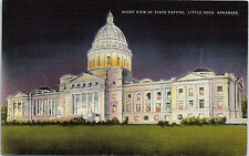 Little Rock, Arkansas, State Capitol, Night -  Postcard (A21)