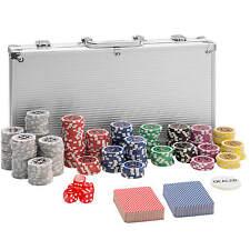 Maletín Póker set aluminio plateado 300 fichas láser poker chips + accesorios NU