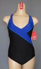 NEW 6 SPEEDO V Neck High Back Crossback SWIMSUIT $89 Womens 834851 Black SeXy