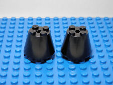 LEGO LEGOS  -  Set of 2 NEW Cones 3 X 3 X 2 with Axle Hole BLACK  Star Wars
