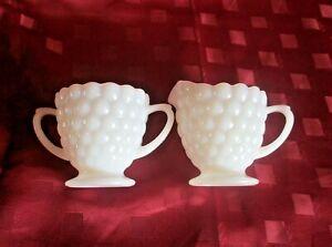 Vintage Anchor Hocking USA Bubble Glass Open Sugar Bowl & Creamer *Milk Glass