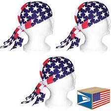 3 LOT SKULL CAP USA Mega Stars American Flag HEAD WRAP DU DO DOO RAG DURAG HAT!