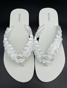 White Bridal Braided Infinity Charm Flip Flops Wedding Flip Flops Women SIZE 11