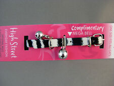 Cat Collar - Zebra Pattern, Safety Elastic, Silver Ball Bell & Silver Mega Bell