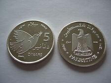 ESSAI 5 dinars 2010 Paix Palestine ARGENT MASSIF FDC Fleur de Coin Très RARE !!
