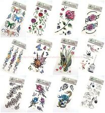 12 sheets temporary tattoo rose flower butterfly Mehndi Henna boho