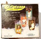 NOS New Vtg 1977 Spencer Gifts 4 Striptease Highball Glasses in Box
