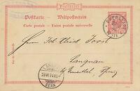 "DT.REICH ""EBERSTADT"" (jetzt DARMSTADT) selt K1 10 Pf rot Adler Kab.-GA-Postkarte"