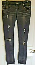 Almost Famous / Women's Distressed Black Skinny Jeans / Size 9 / B16