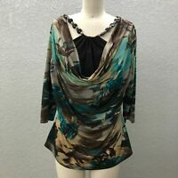 Dressbarn Stretch Knit Top Blouse Women's L Multicolor Boat Cowl Neck 3/4 Sleeve