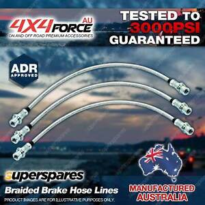 3x Front + Rear Braided Brake Hoses Lines for Suzuki Jimny 1.3 SN413 98-on