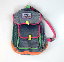 Vtg 90s NEON Blue Denim Jean Drawstring Backpack Shoulder Book Bag Purse Satchel